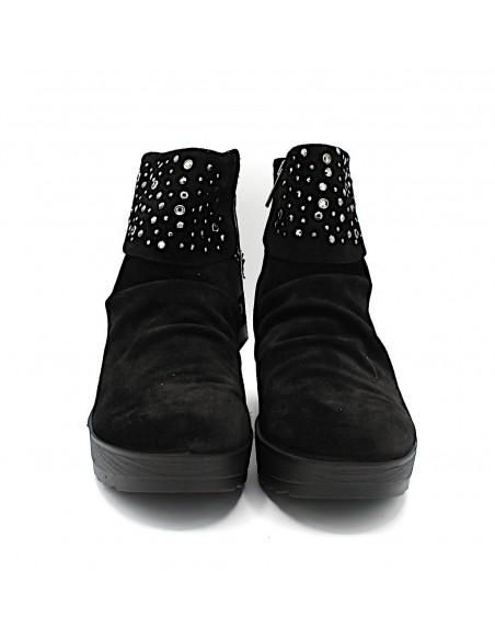 Igi & Co. Stivaletti da donna in camoscio nero con zeppa 2168600