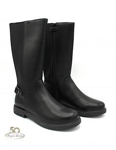 Geox stivali da donna ragazza in pelle neri al polpaccio con elastico J949QF Eclair