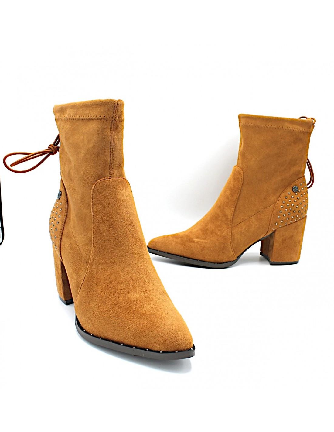 Dettagli su Stivaletti da donna eleganti con tacco alto tronchetti scarpe stivali bassi XTI