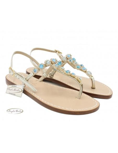 Sandali Artigianali da donna in cuoio gioiello fatti a mano moda Capri Positano Swarovski