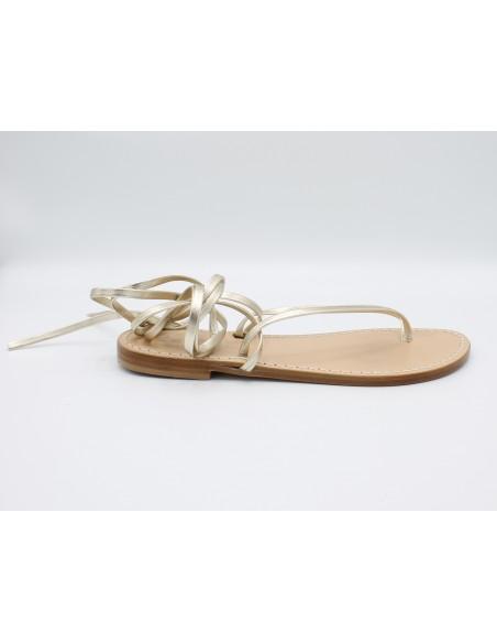 Sandali Artigianali da donna bassi alla schiava in vero cuoio pelle Oro moda Capri Positano