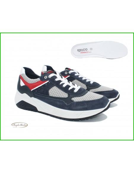 Igi & Co. scarpe da uomo sneakers in pelle e tela Memory Foam 5131911