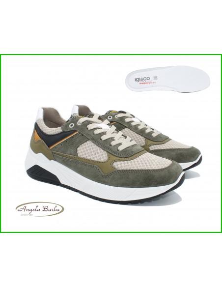 Igi & Co. scarpe da uomo sneakers in pelle e tela Memory Foam 5131922