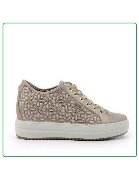 Igi & Co scarpe da donna con zeppa interna in pelle e tela taupe 5160222