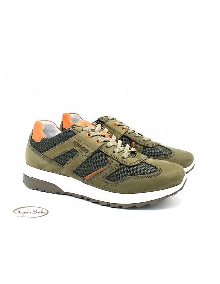 Igi & Co. scarpe da uomo in tela e pelle sneakers Militare 5129622