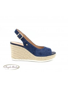 Geox sandali da donna con zeppa alta e plateau in camoscio Blu D02GVD Ponza
