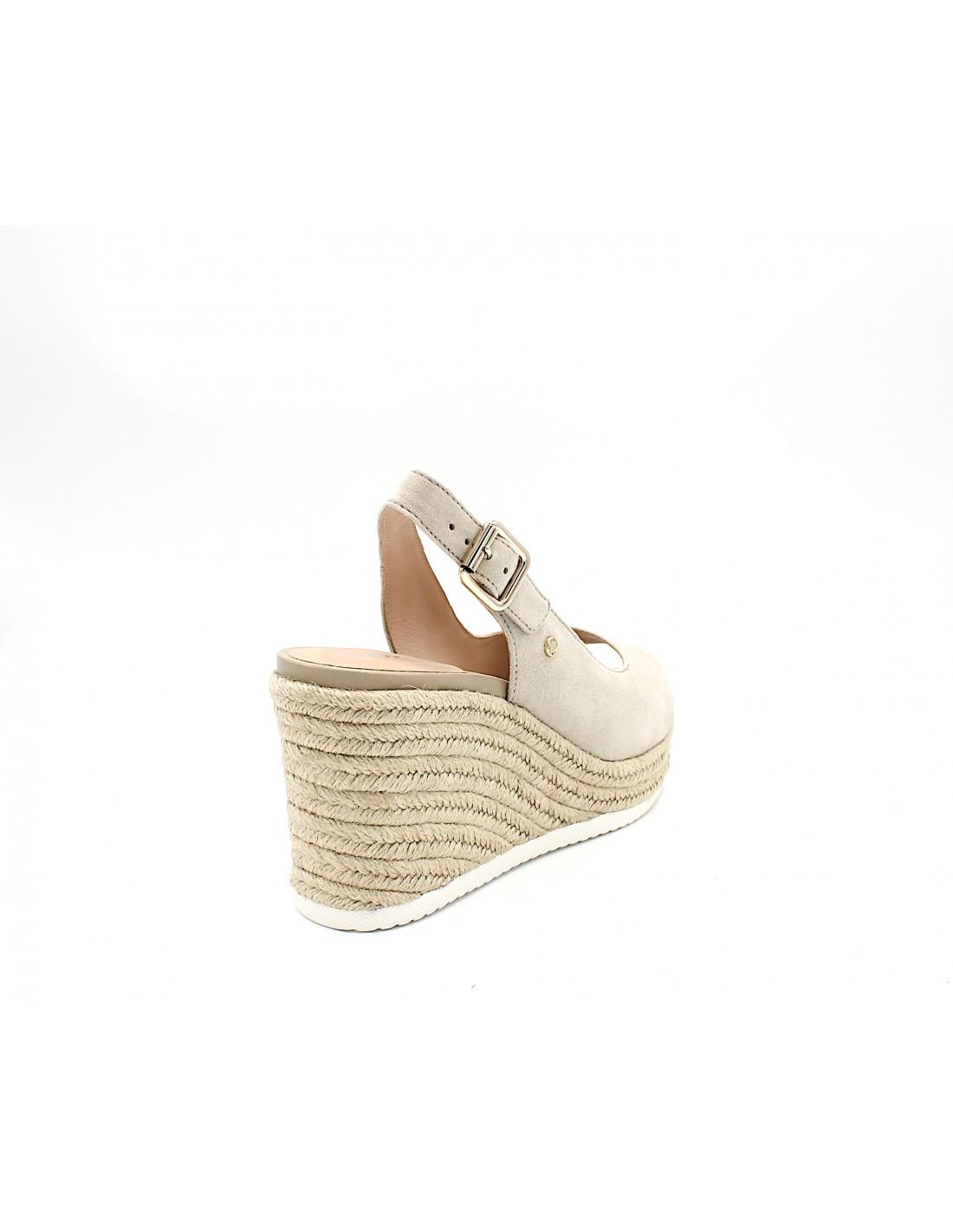 Dettagli su Geox sandali da donna in camoscio con zeppa alta plateau corda tacco alto beige