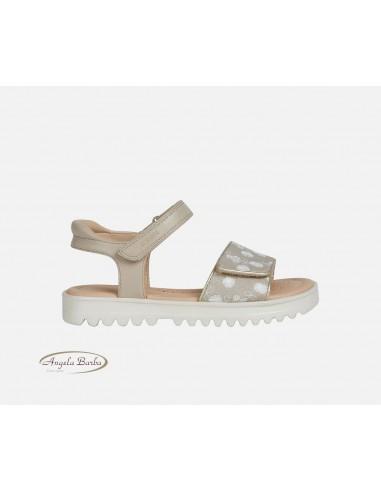 Geox sandali da bambina ragazza in pelle beige Coralie J026ED