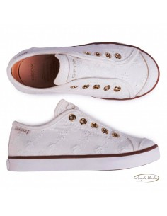 Geox scarpe da bambina in tela bianco Ciak J0204C
