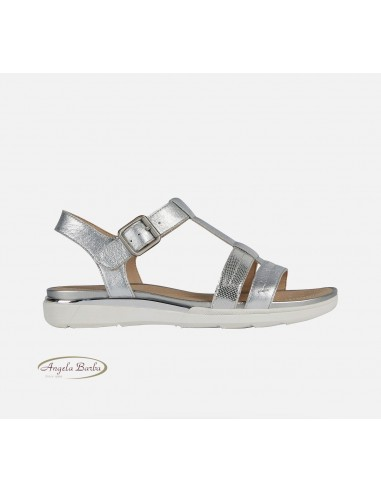 Geox sandali da donna in pelle argento Hiver D02GZB