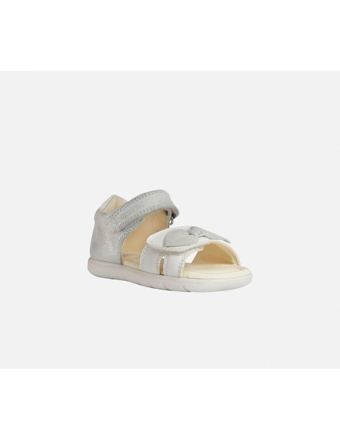 Dettagli su Geox sandali da bambina primi passi eleganti per cerimonia bimba in pelle fiocco