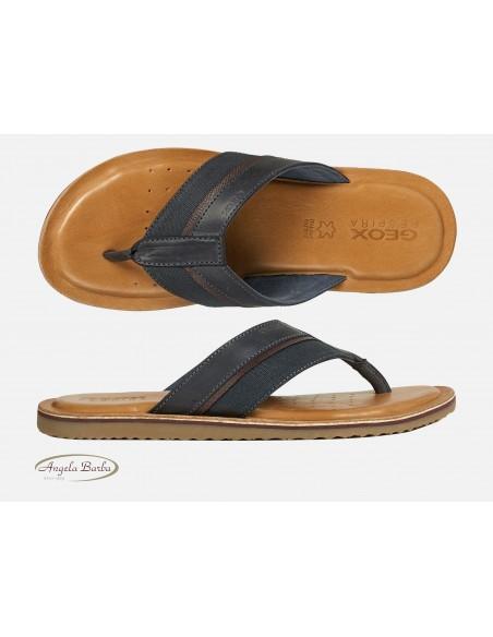 Geox sandali da uomo in pelle blu infradito U02V1A Artie