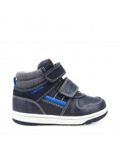 Geox scarpe bimbo sneakers alta con strappi linea new flick art. B741LA navy/roy