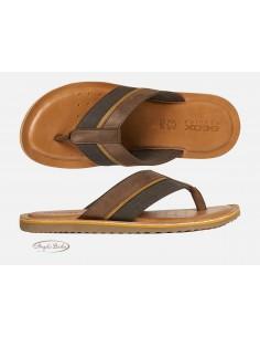 Geox sandali da uomo in pelle nero infradito U02V1A
