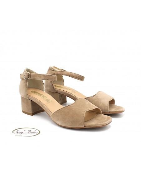 Igi & Co. sandali da donna in camoscio beige con tacco 5189855