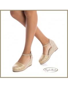 XTI scarpe da donna in corda con zeppa argento 49704