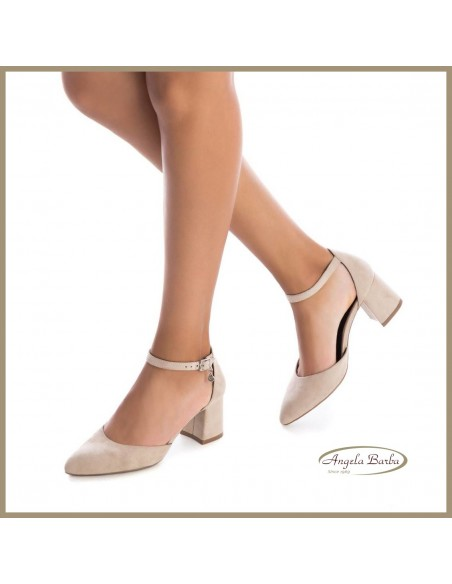 XTI scarpe da donna con tacco chiusa in punta beige 35182