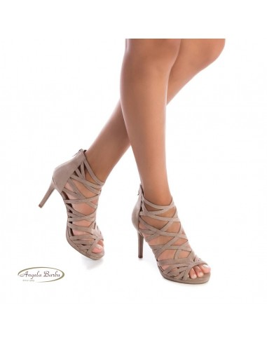 XTI sandali da donna con tacco alto incrociati taupe 35186