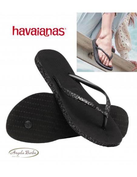Havaianasa Slim Sparkle infradito donna glitter nero mare