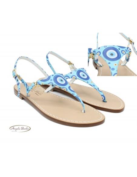 Sandali Artigianali in cuoio da donna fatti a mano moda capri positano Azzurro