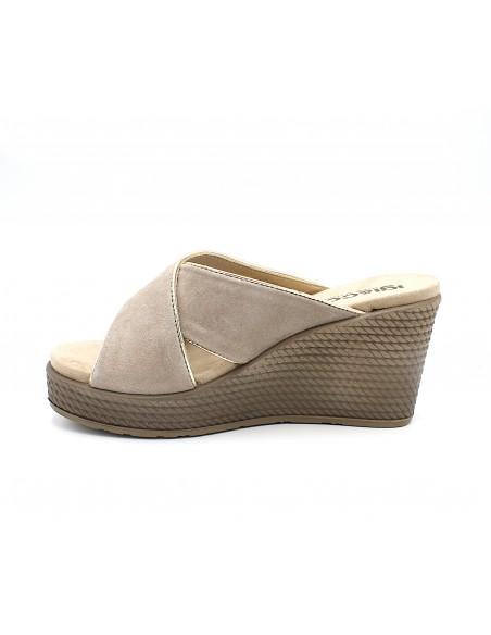 Igi & Co sandali da donna con zeppa alta in camoscio pantofole Taupe5180722