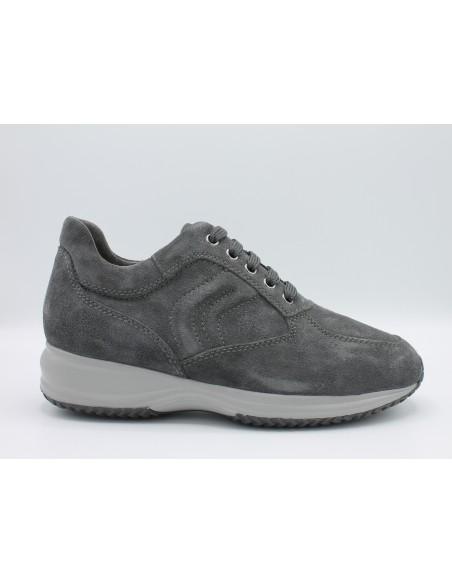 Geox scarpe uomo sneakers in camoscio antracite modello