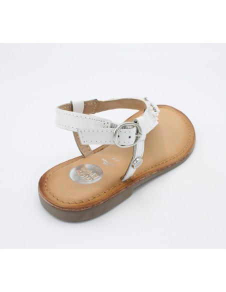Gioseppo sandali da bambina in pelle bianco infradito Mansfield Lierde