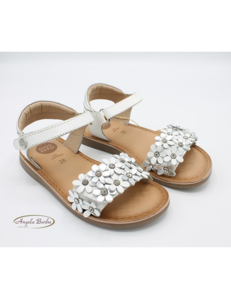 Gioseppo sandali da bambina in pelle bianco con fiori argento Mazara