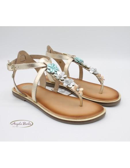 Gioseppo sandali da bambina in pelle oro infradito con fiori Ucata