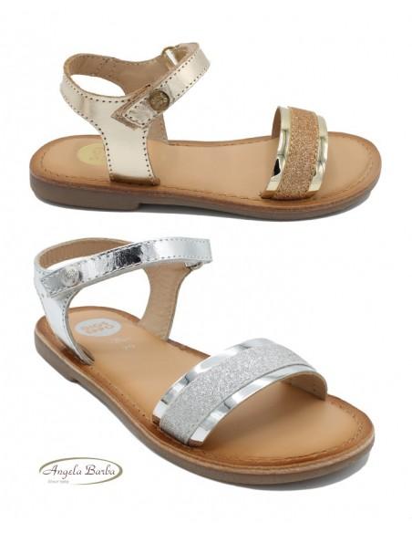 Gioseppo sandali da bambina in pelle laminato Oro Argento Nadiad Rivalta
