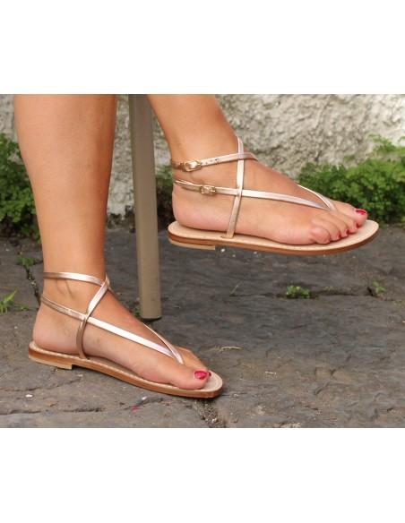 Sandali Artigianali da donna bassi alla caviglia in vero cuoio pelle moda Capri Positano