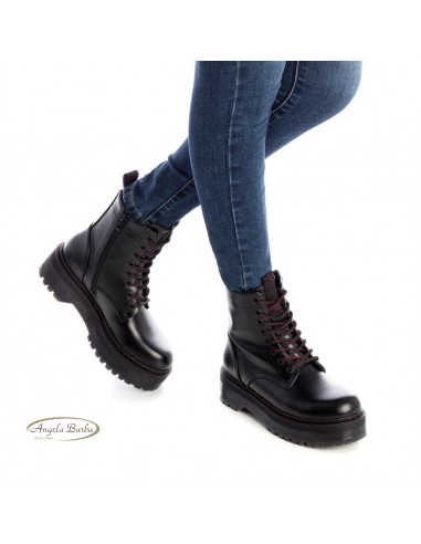 XTI scarpe donna stivali anfibi bikers zeppa platform neri 44397