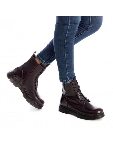 XTI scarpe donna stivali anfibi bikers stivaletti militari bordò 44406