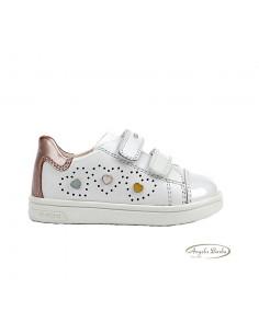 Geox scarpe da bambina primi passi in pelle bianco con strappo B921WB