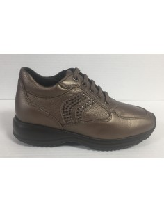 Geox scarpe donna sneakers in pelle lead con logo in strass linea Happy D5462C