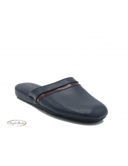Pantofole Uomo Pelle da camera Mauri Moda Ciabatta chiusa Blu IAO401 gommina