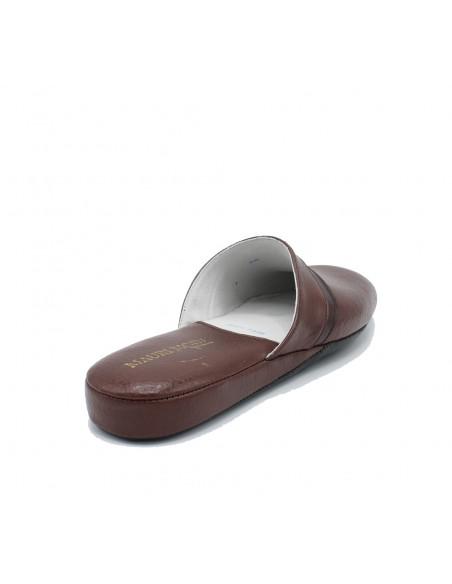 Pantofole Uomo Pelle da camera Mauri Moda Ciabatta chiusa Marrone IAO401 gommina