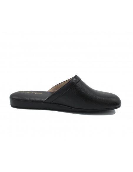 Pantofole Uomo Pelle da camera Ciabatta chiusa Nero IAO407 gommina