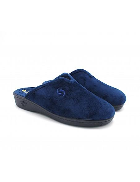 Sabatini pantofole da donna in caldo tessuto blu per casa S4101R