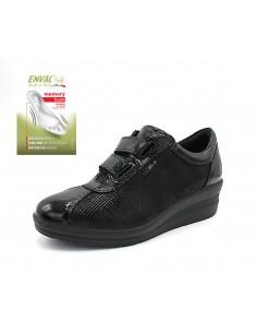 Enval Soft scarpe da donna con zeppa strappi in pelle nero memory Foam 6277900