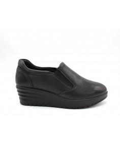 Enval Soft scarpe da donna in pelle nero mocassini con zeppa 6274900