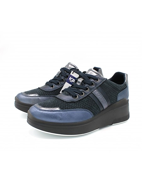 Igi & Co scarpe da donna con zeppa platform in pelle blu 6154522