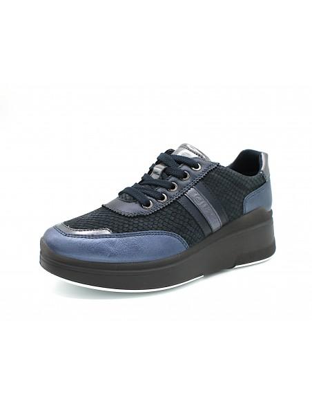 Igi & Co scarpe da donna con zeppa platform in pelle grigio 6154511