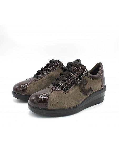 Cinzia Soft scarpe da donna in pelle e camoscio Caffè con zeppa IV11692