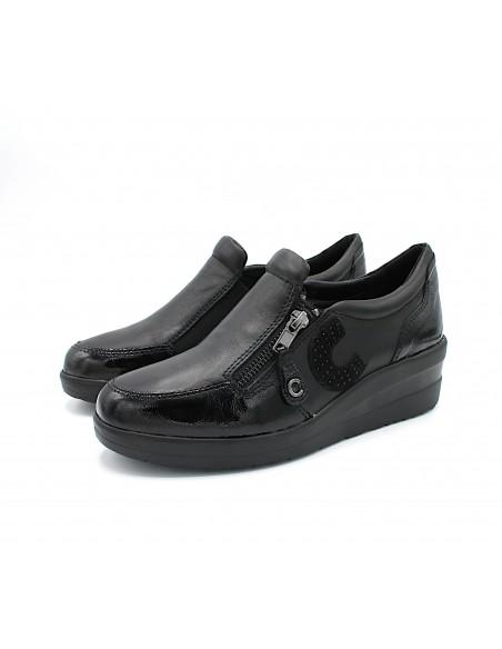 Cinzia Soft scarpe da donna mocassini in pelle Nero con zeppa IV13822