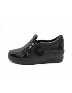 Cinzia Soft scarpe da donna in pelle e camoscio Nero con zeppa IV11692