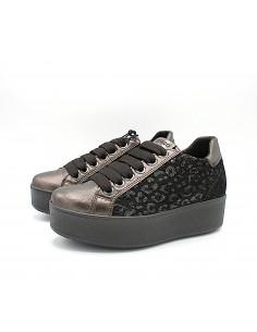 Igi & Co scarpe da donna con zeppa alta platform in pelle testa di moro 6163211