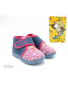 Pantofole da bambina scarpe da casa in tessuto caldo Jeans Fuxia Snoopy