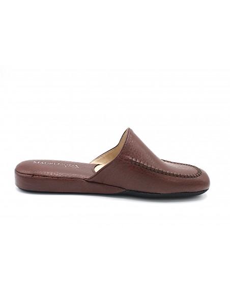 Pantofole da casa per uomo in pelle blu con suola in gomma Mauri Moda