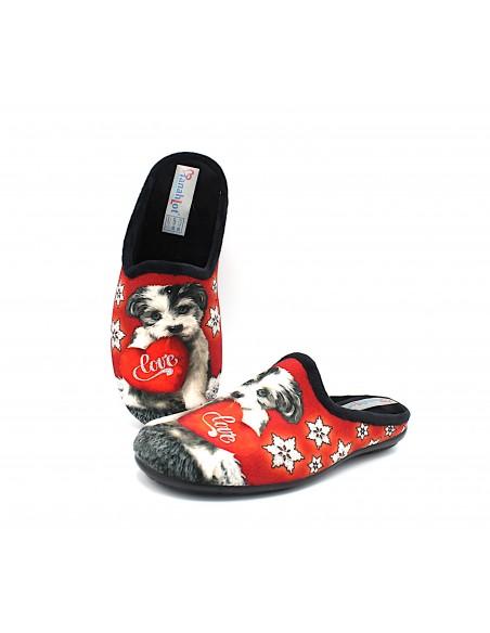 Pantofole da donna per la casa in tessuto con stampa cagnolino glitter invernali